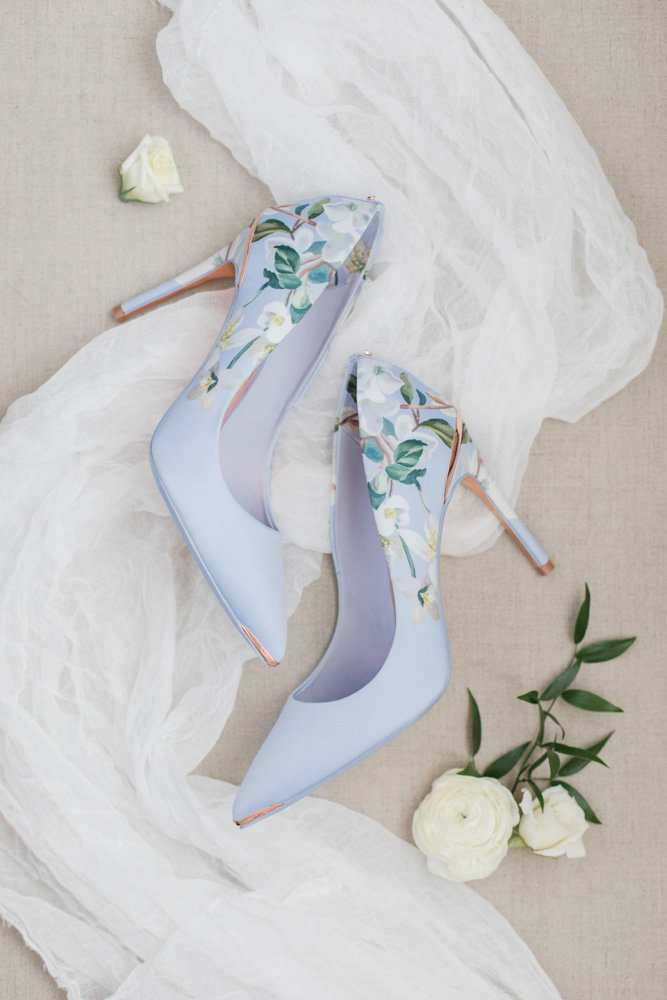 blue ted baker wedding shoes  at Stone House at Stirling Ridge Maryland Wedding by  Costola Photography