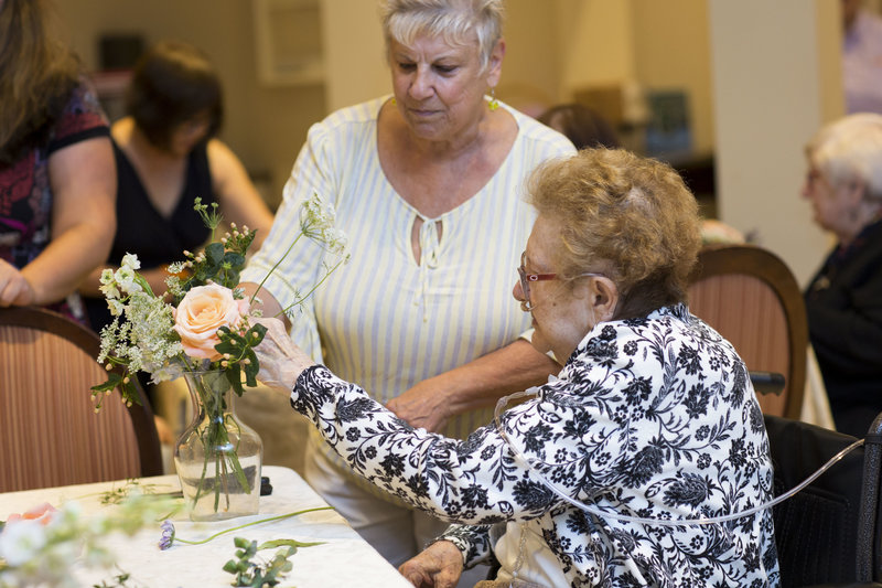 Flower arranging in nursing home