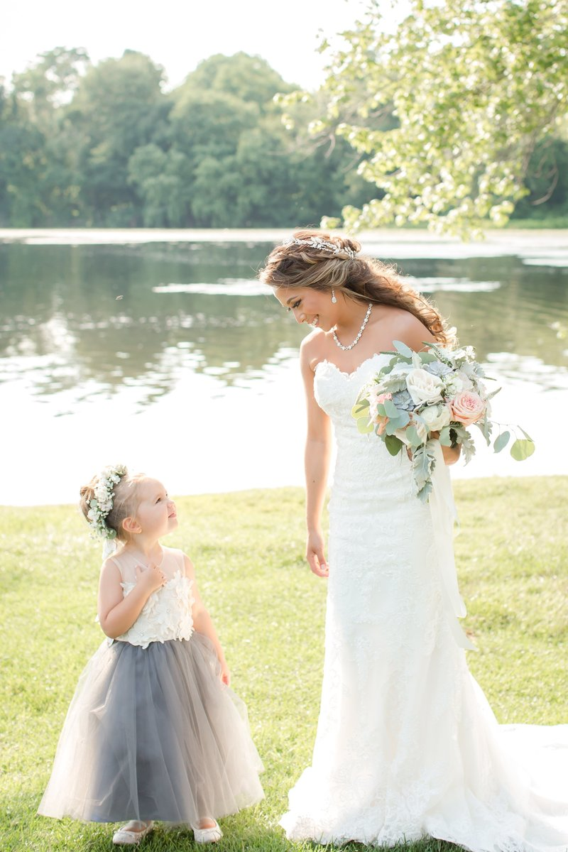 Bride and flower girl photo