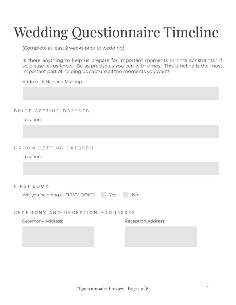 Editable Wedding Questionnaire 1 of 8