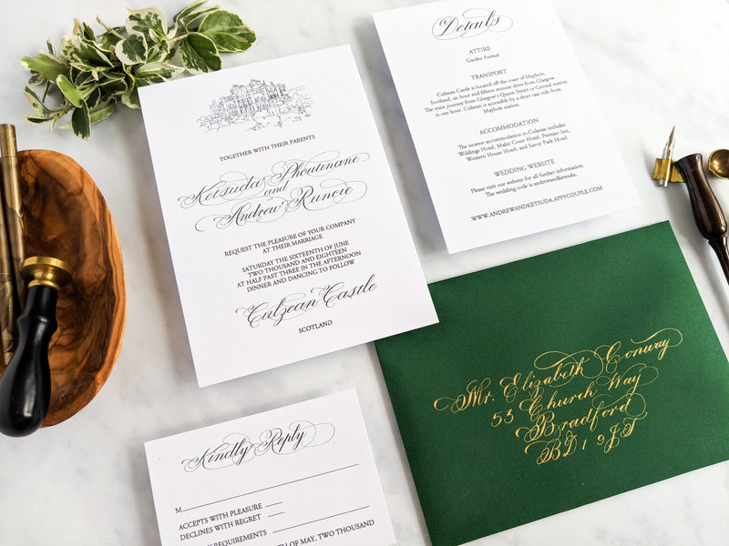 White, forest green and gold invitations designed by Jenni Liandu Calligraphy