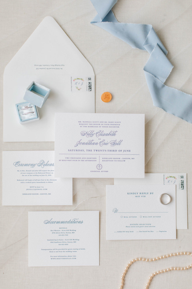 classic wedding invitation suite at eastern shore wedding at kirkland manor by costola photography