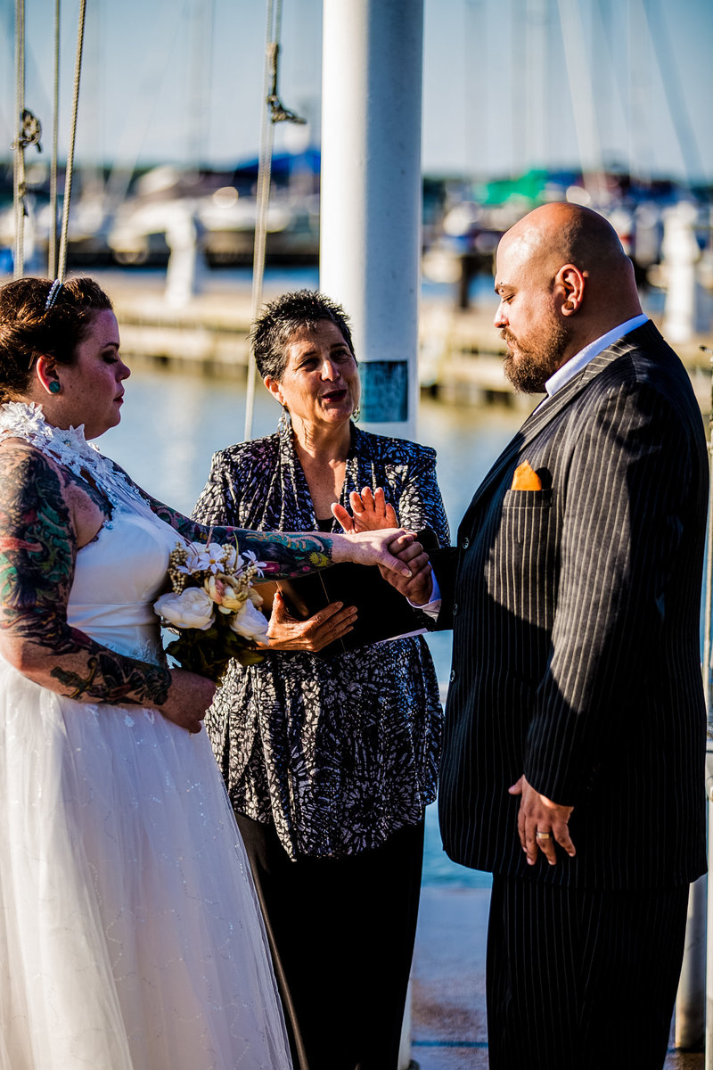 Groom reciting vows at Erie Yacht Club wedding