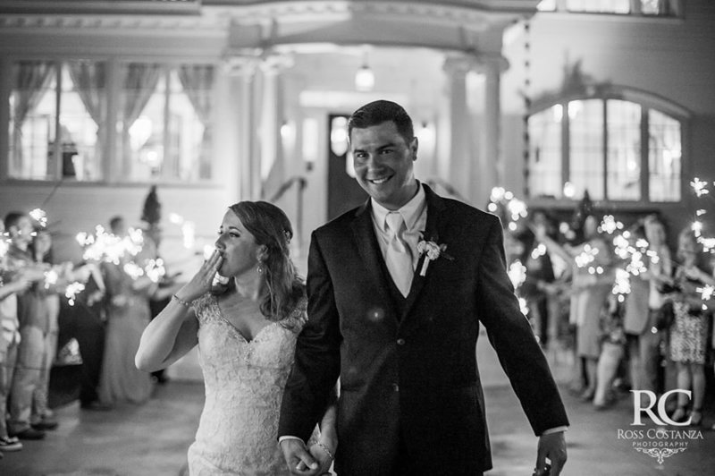 Bride & Groom sparkler exit during their wedding at The Obici House,