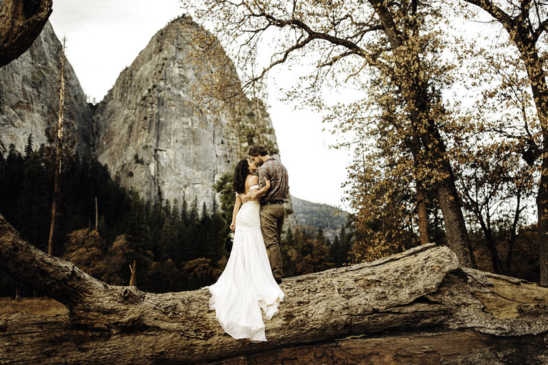 Destination location in Yosemite in California. Beautiful Boho dress with bohemian florals and adventurous couples. Wedding photography. El Captain backdrop.
