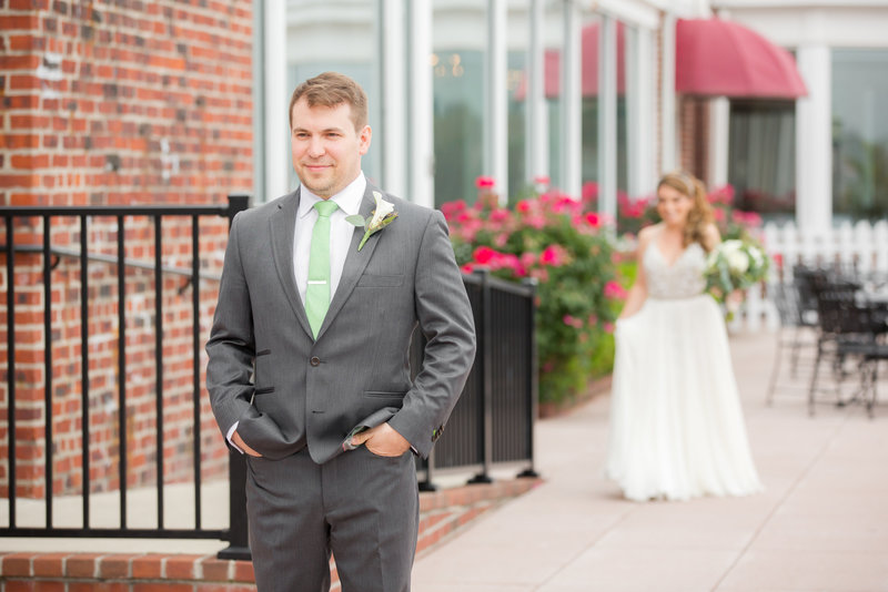Groom's first look at Molly Pitcher Inn