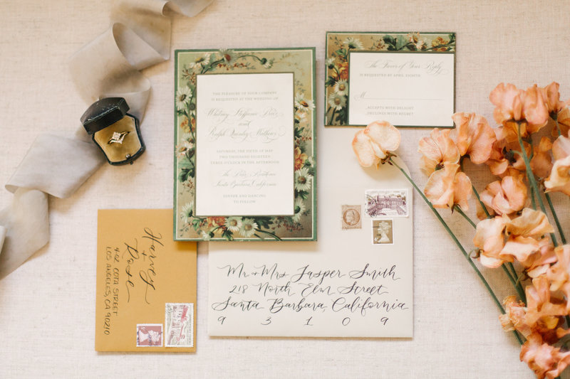Invitation suite at Santa Barbara wedding