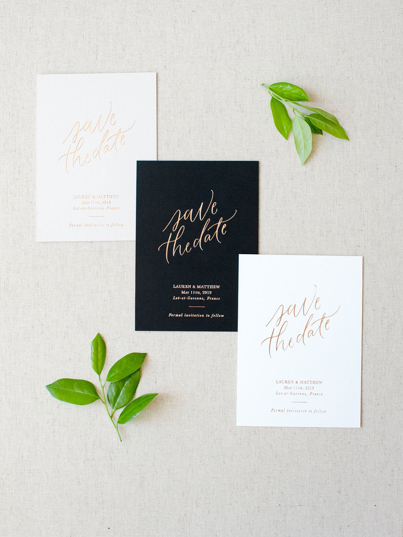 Semi-Custom Invitations - Simple Elegance Collection Save the Date in three colors