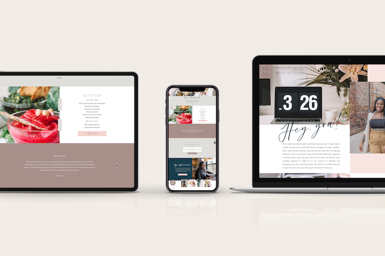 Macbook and iphone side by side showcasing a website design for a holistic health and fitness coach
