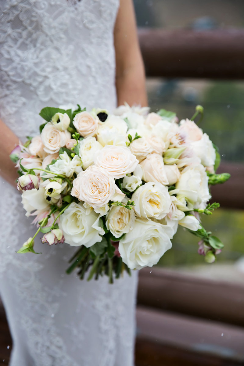 wedding bouquet with white and blush garden roses