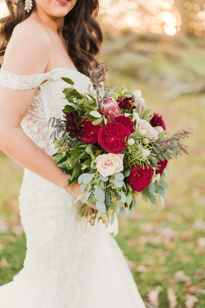 red and wine bouquet at great marsh estate wedding in northern virginia by costola photography