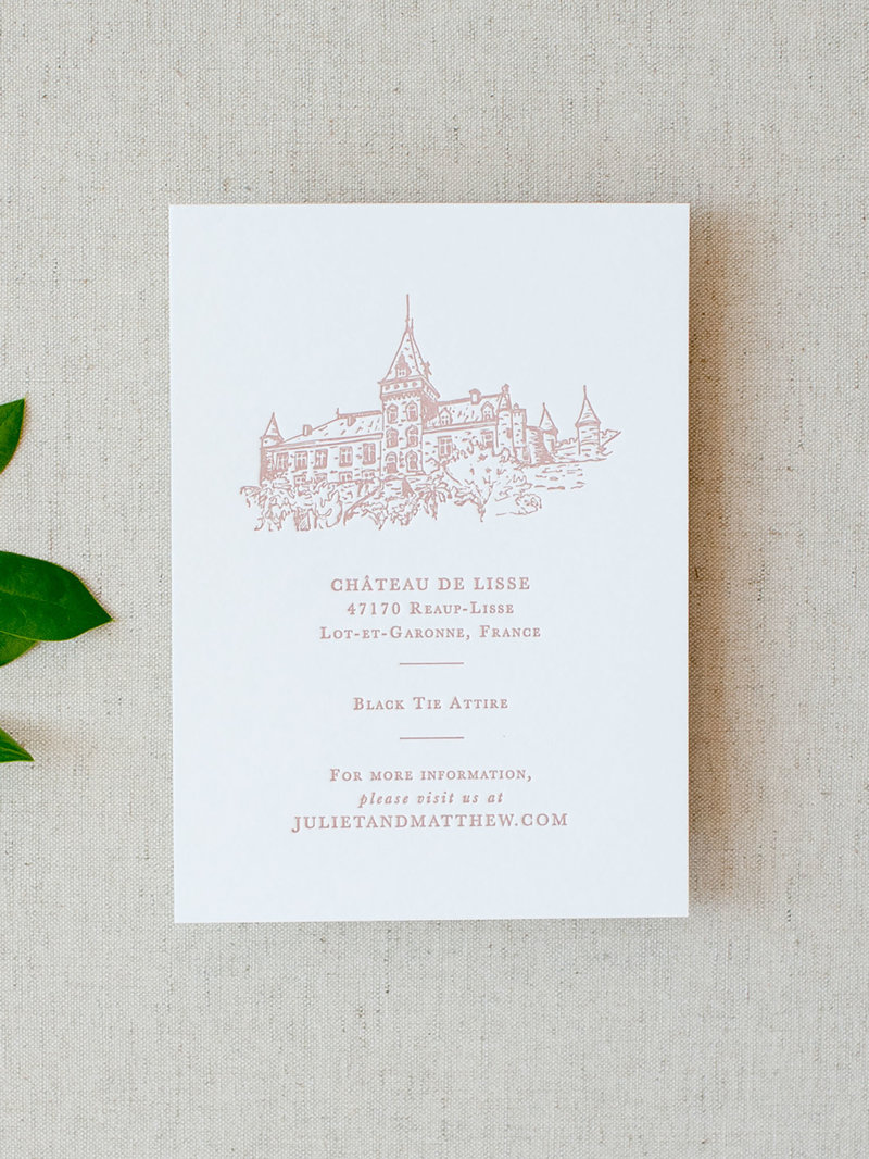 Semi-Custom Invitations - Simple Elegance Collection Details Card with Custom Illustration
