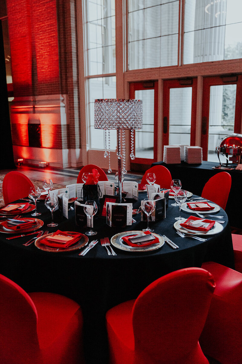 red and black gala union station pop parties dallas event planner