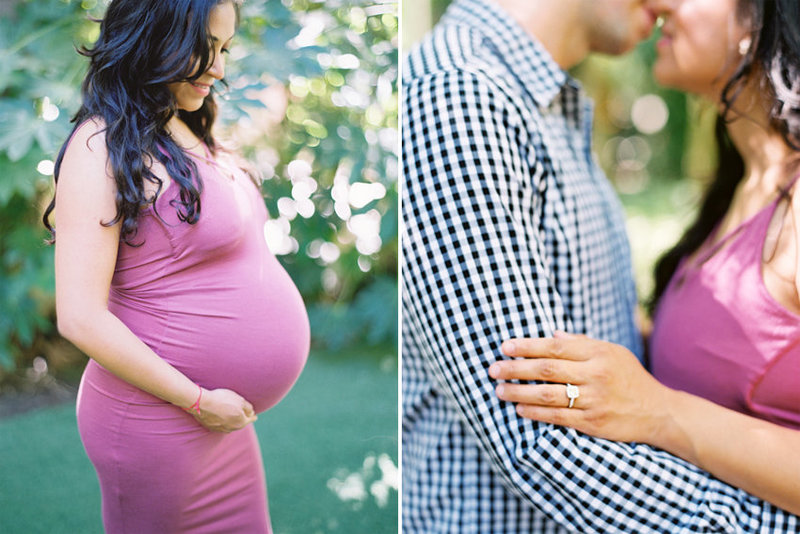A pregnant woman poses for her maternity portraits in a garden in Camarillo, California