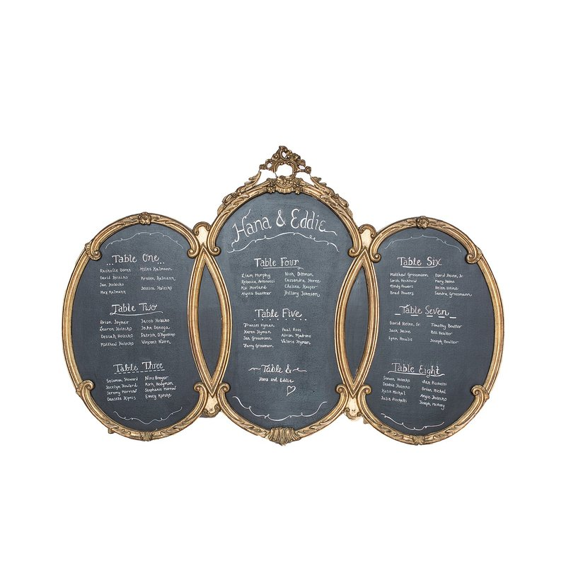 Gold ornate three paneled chalkboard.