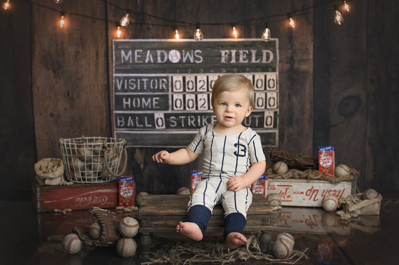 columbus ohio photographer cake smash first birthday vintage baseball smash the cake session