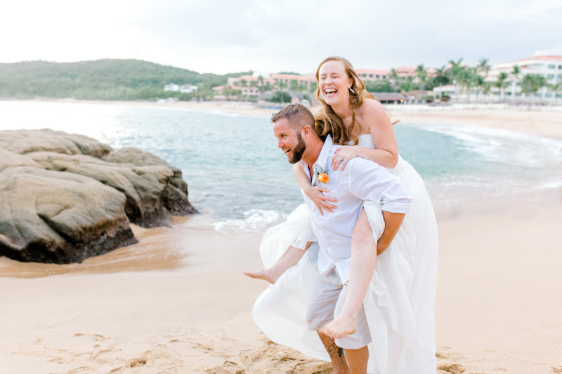bride and groom on beach in Mexico