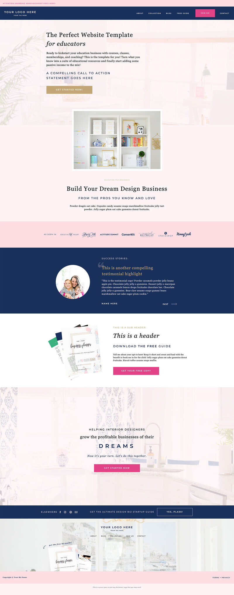 Showit Website Template for Bloggers