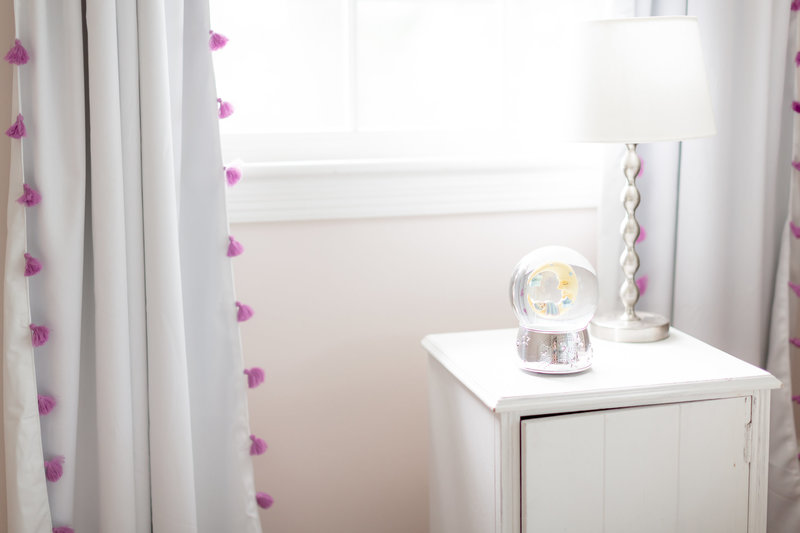 clean neutral bright newborn nursery details