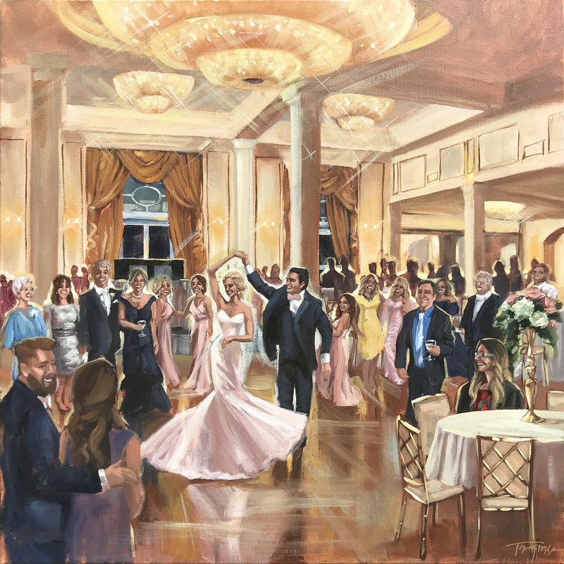 Torregrossa Fine Art original live wedding painting by Stephanie Torregrossa Gaffney 2018 New Orleans  Chateau country Club Wedding
