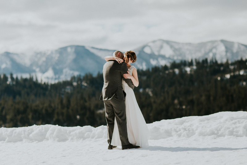 Suncadia Snoqualmie WA Winter Elopement Couple Embracing