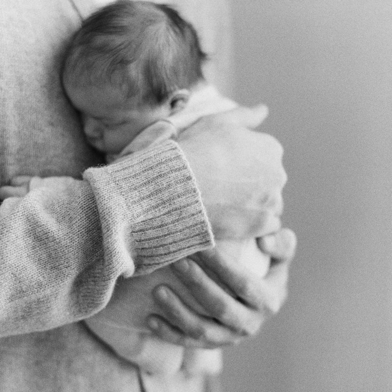 Newborn photography at home on black and white film by Pittsburgh Newborn Photographer Tiffany Farley