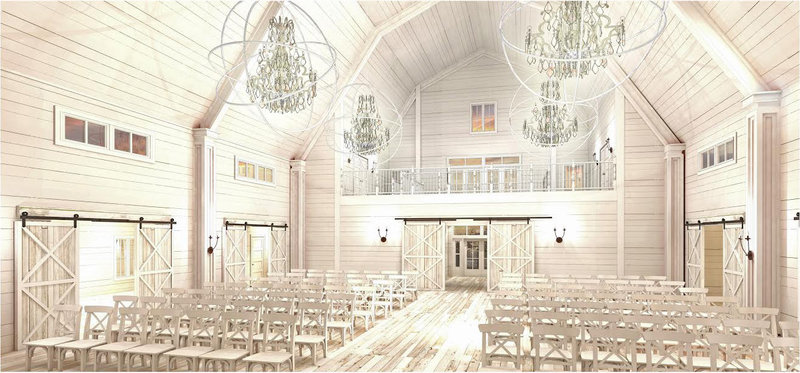 White interior of Providence Vineyard barn with white chairs and chandeliers
