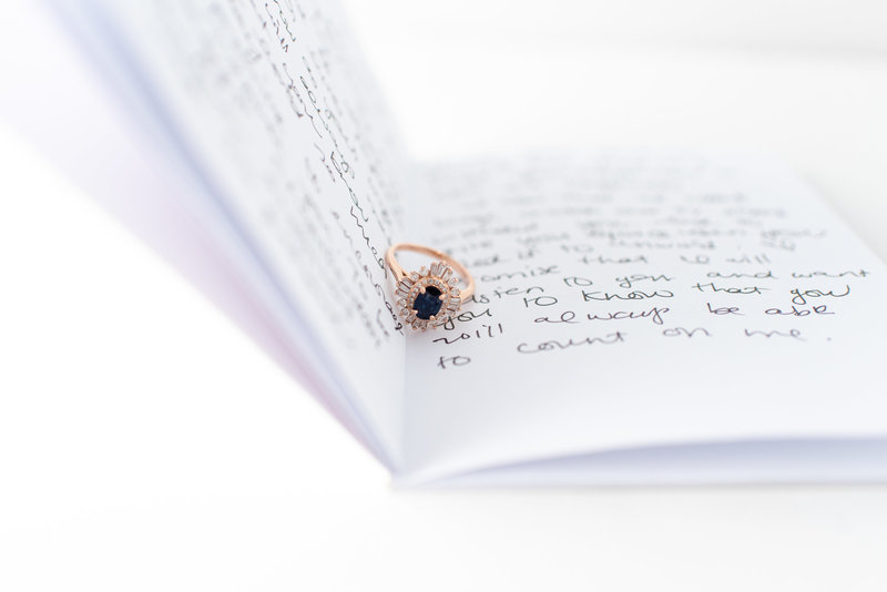 wedding ring in vow book