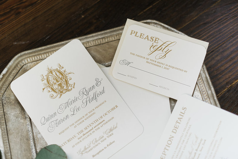 Halford Gold Monogram Wedding Invitation