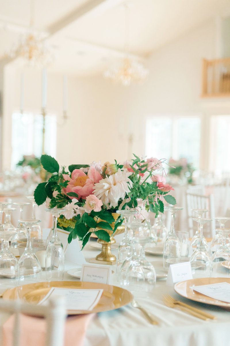Coral and White Wedding Centerpiece with Dahlia