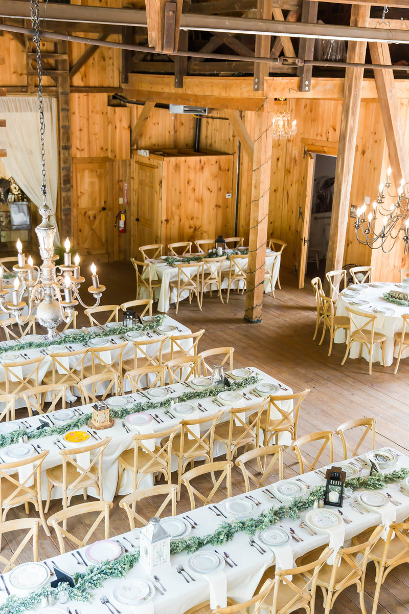 reception decor at rivercrest farm photographed by akron ohio wedding photographer