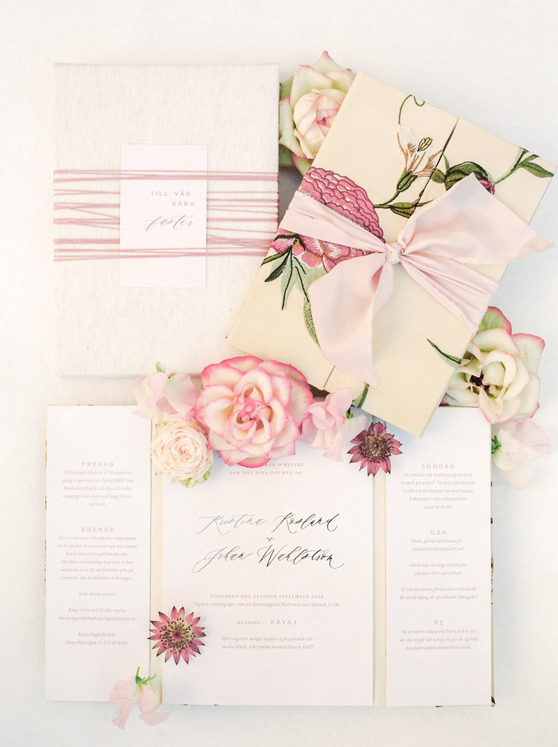 custom wedding invitation suit with a rose theme designed by elins art studio