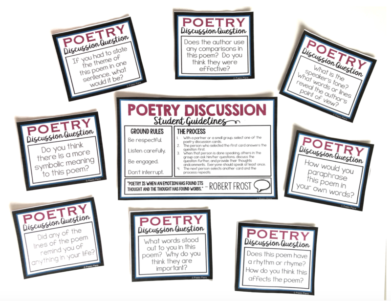 A poetry discussion activity with cards that include general poetry analysis questions that students can discuss.