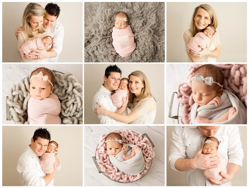 pink and gray newborn session