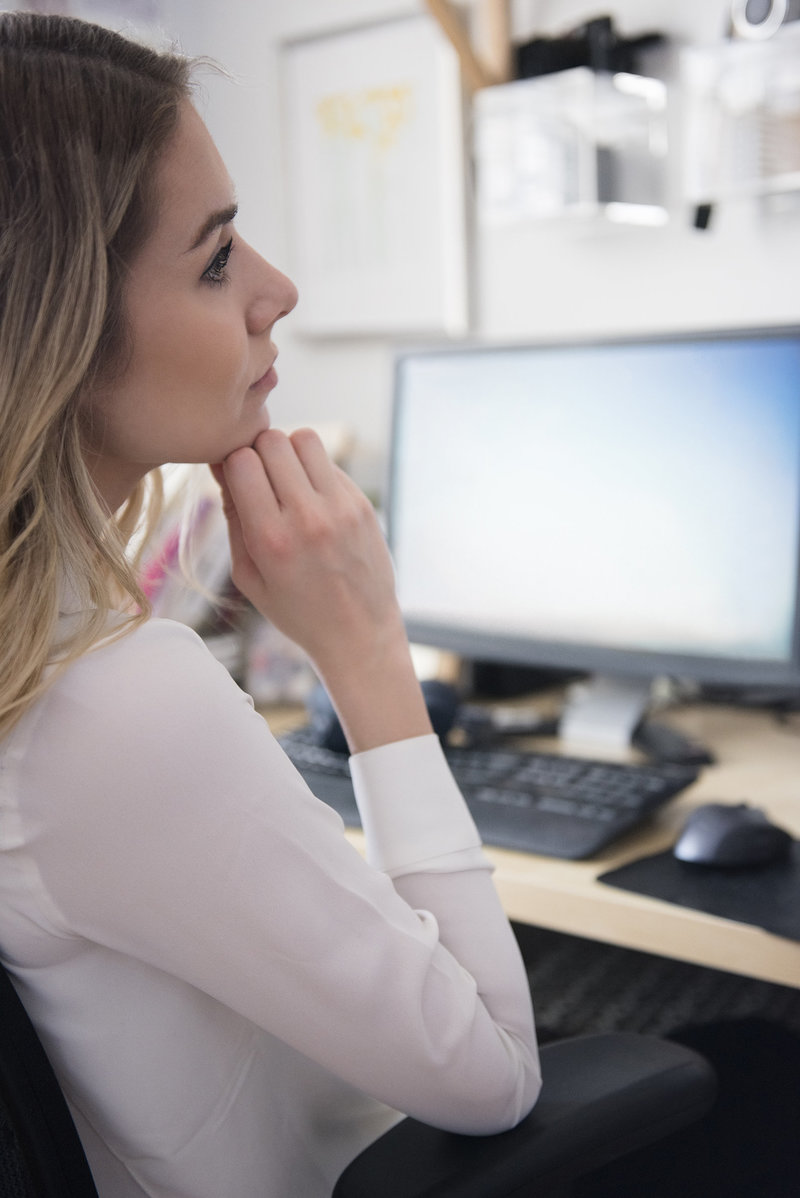 blonde woman working