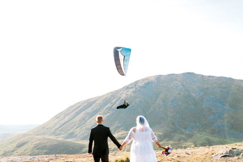 Summit Lake Hatcher Pass wedding elopement parasailor