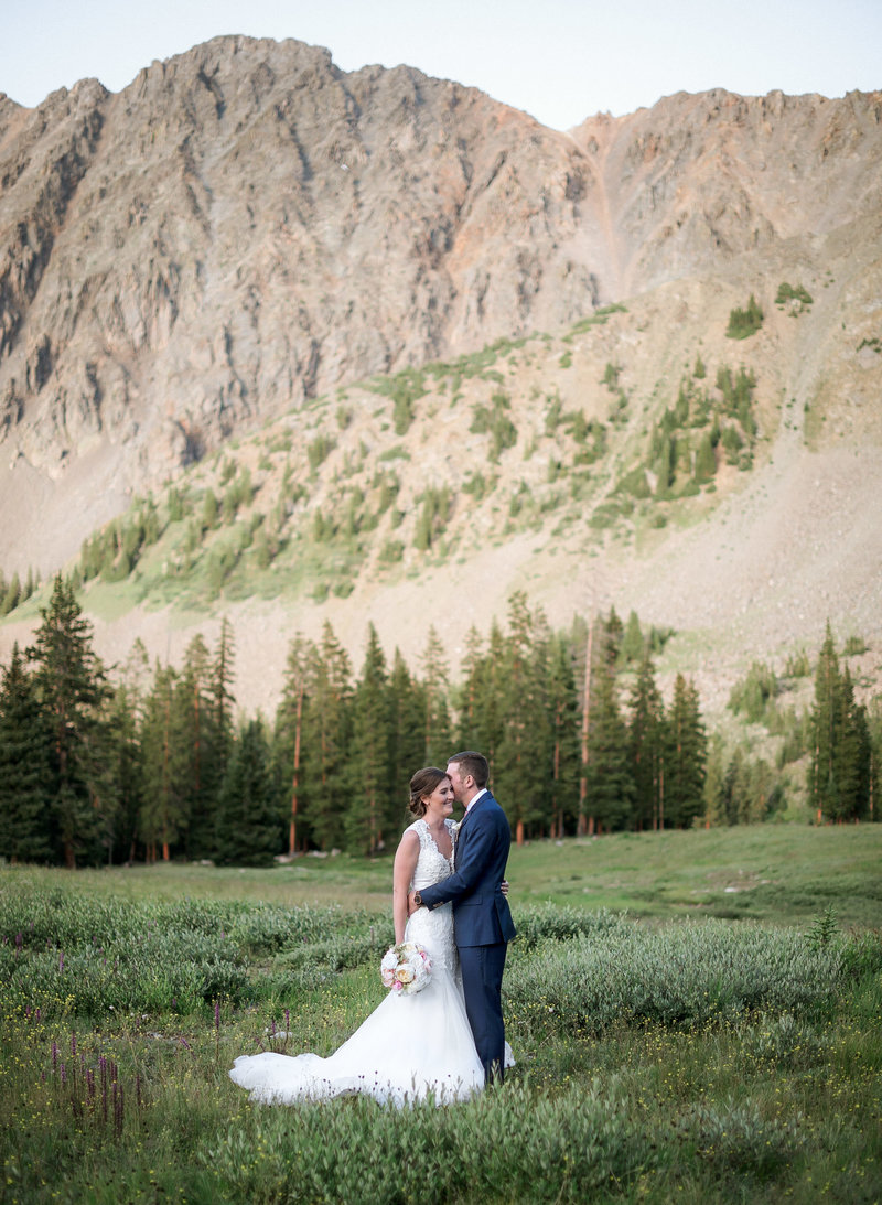 Wedding portrait from an elopement in Arapahoe Basin ski mountain Colorado.