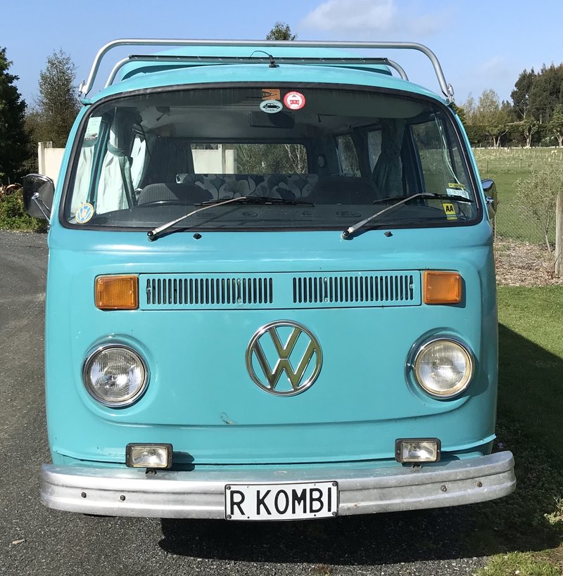 Front view of Rhonda, teal retro kombi van from NZ Kombi Hire