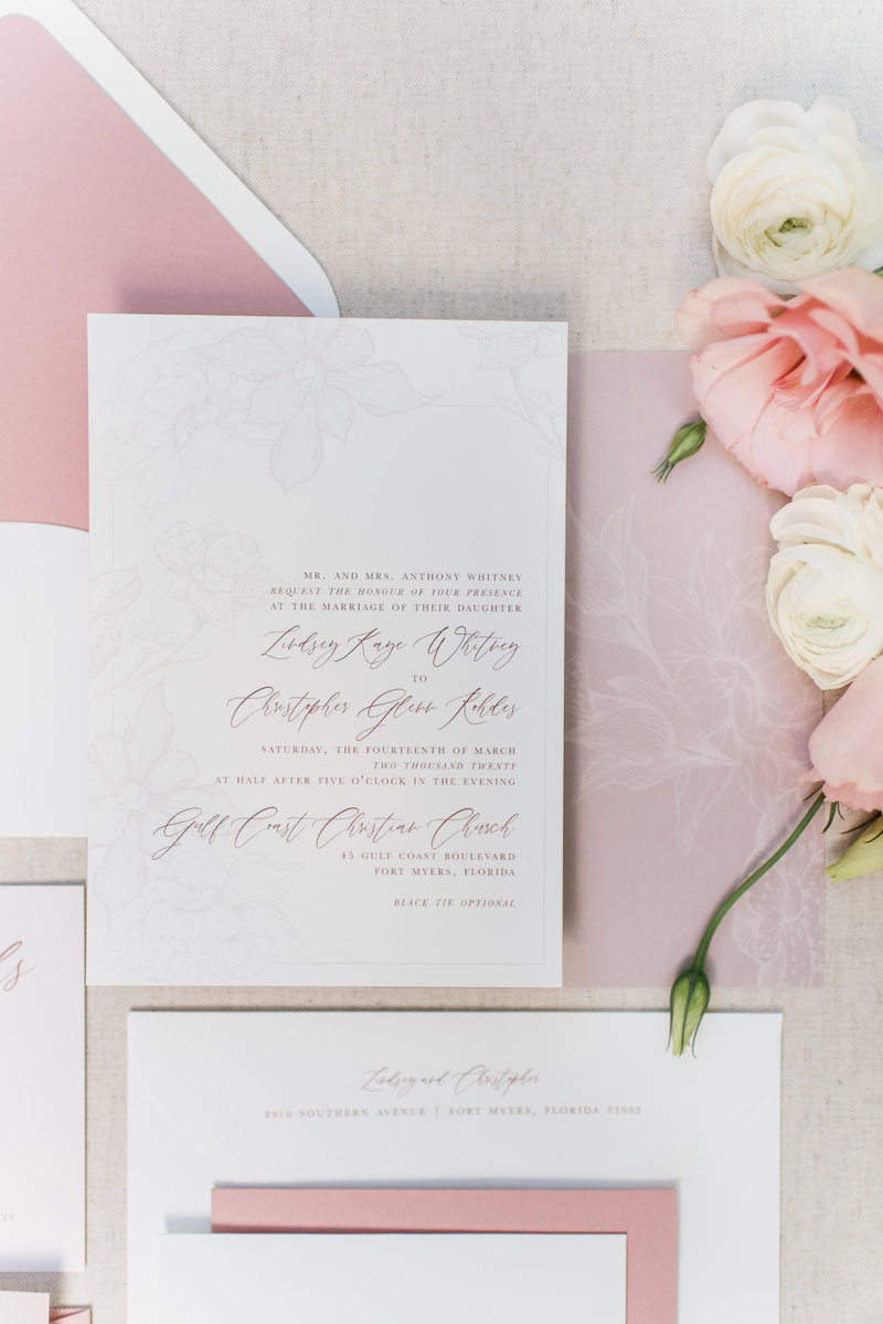 Greer Soft Floral Calligraphy Wedding Invitation