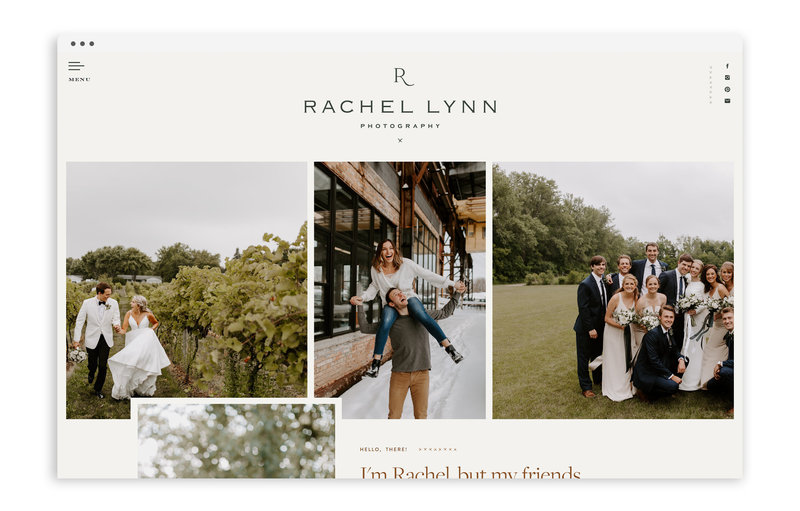 Rachel Lynn Photography - Custom Brand Logo and Showit Web Design Website Design by With Grace and Gold - Photo - 1
