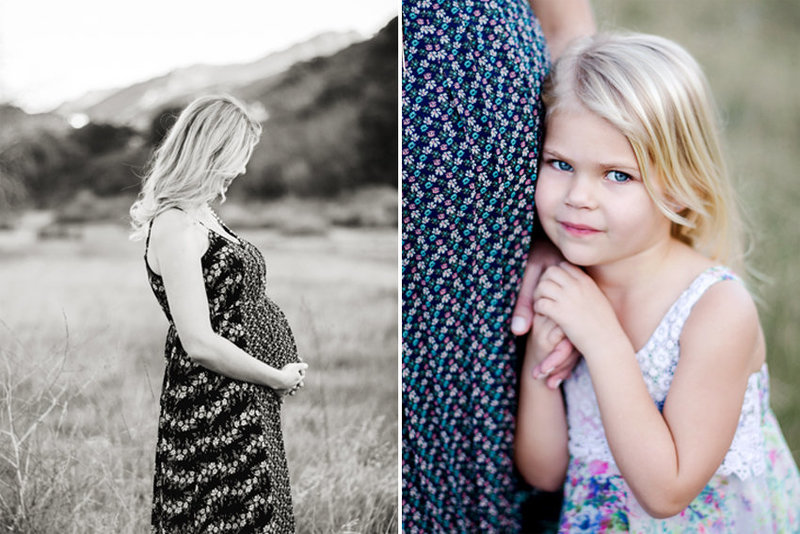 A blonde little girl holds her mother's hand in a field in Thousand Oaks