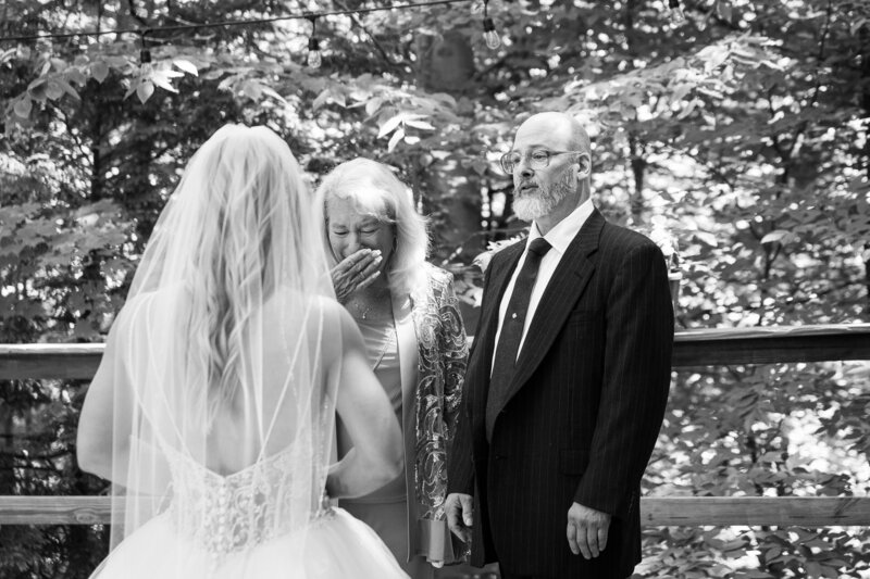 mom and dad crying seeing bride for first time