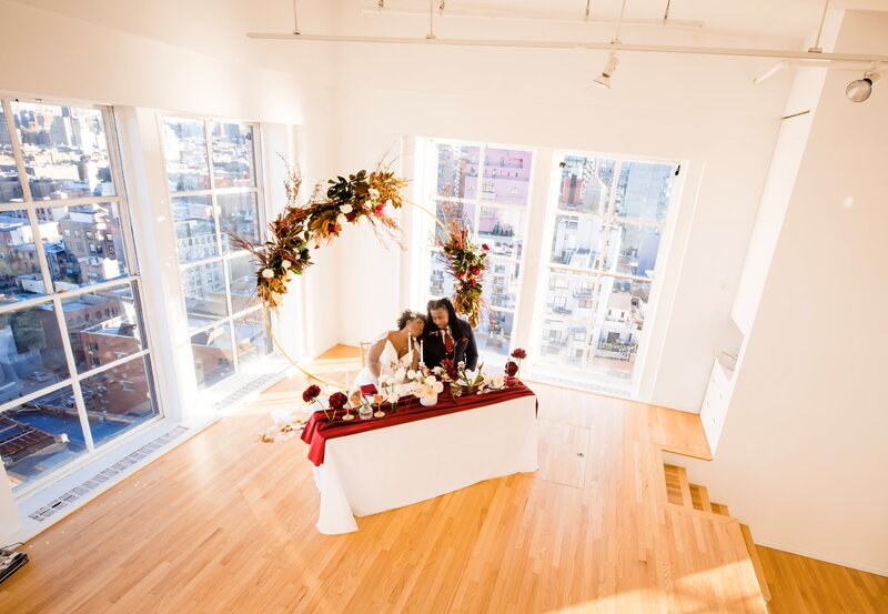 Adorably happy and inlove bride and groom on gorgeous NYC rooftop venue