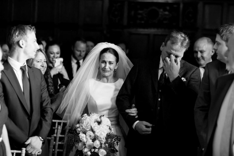 Emotional father of the Bride at Huntsham Court Wedding in Devon