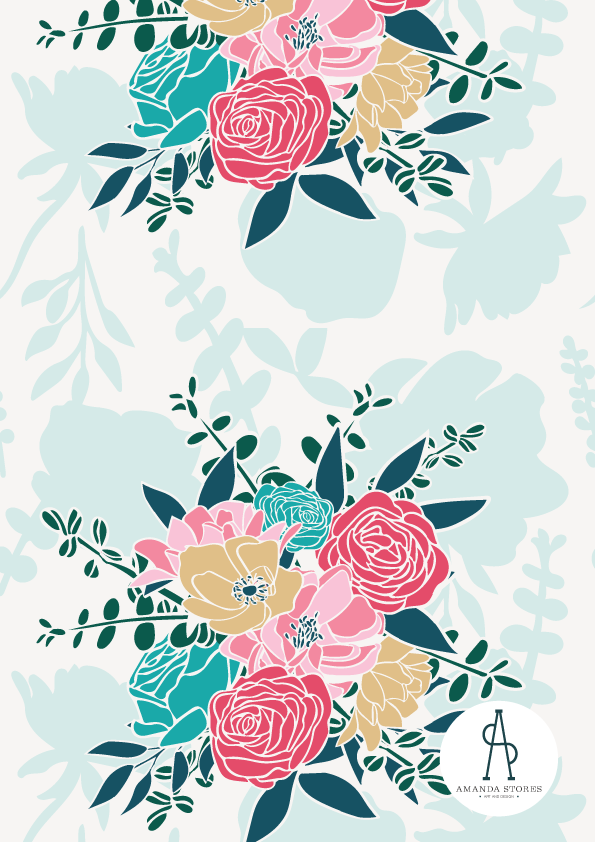 Designs by Amanda Stores- Peachtree Corners, GA fabric designer- Peony flower bouquet with bright pink flowers on a teal background
