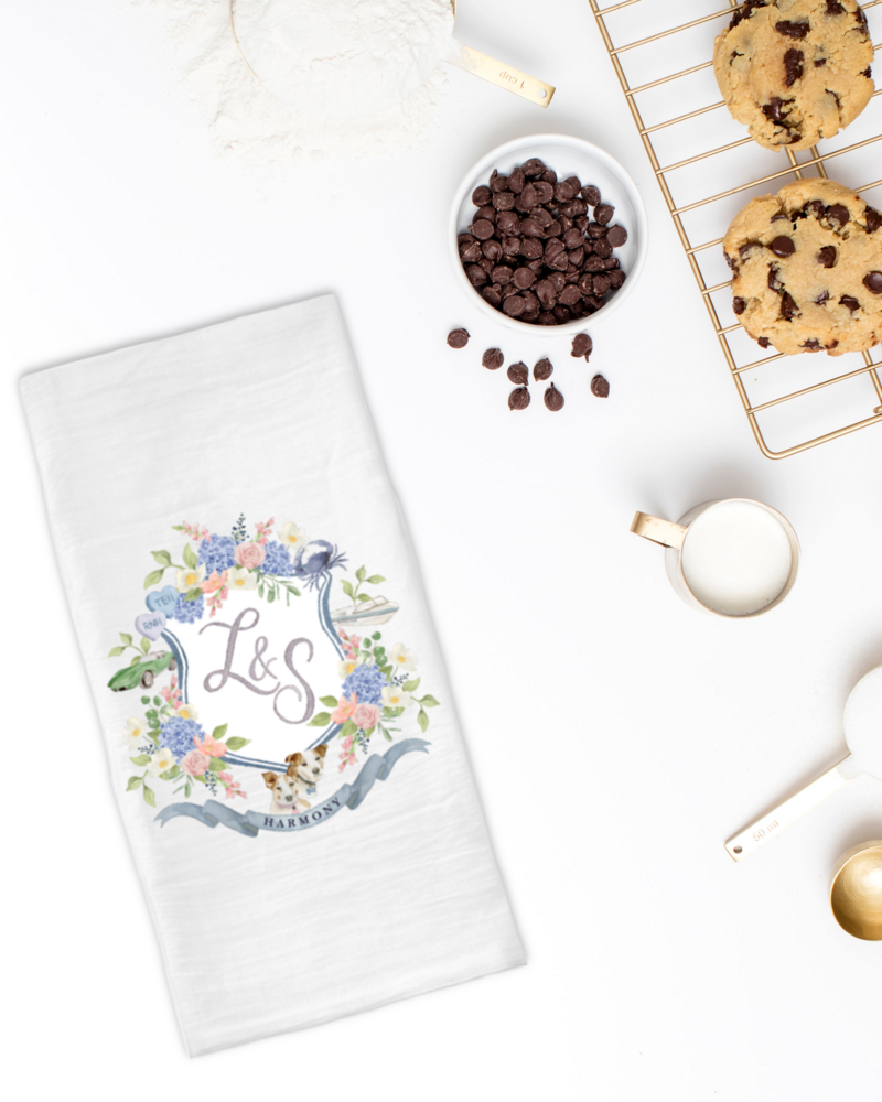 watercolor-crest-tea-towel-cookies-The-Welcoming-District