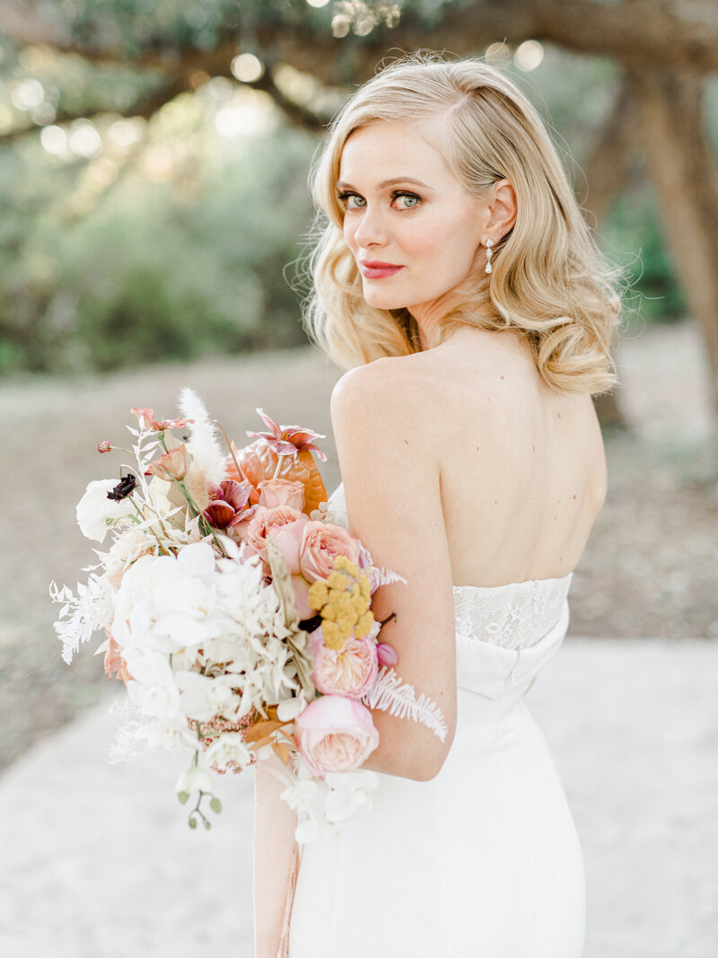 colorful bride with florals