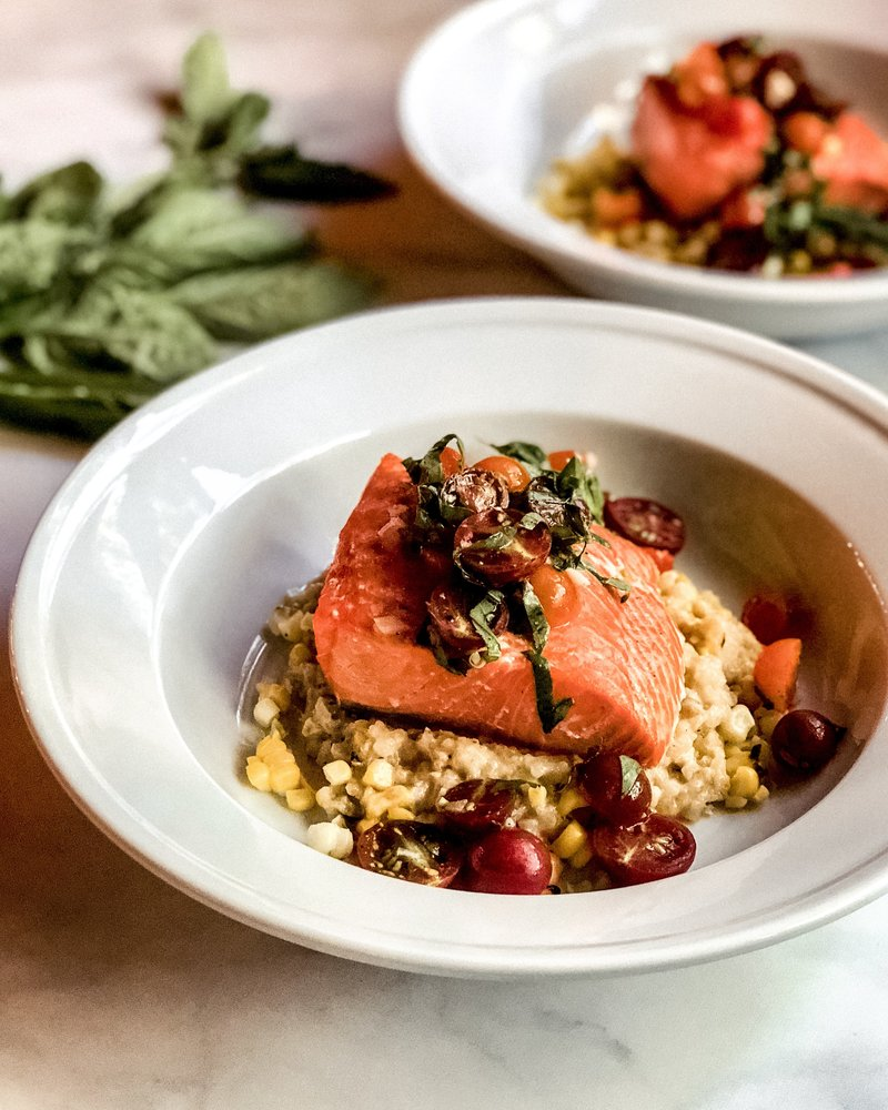 Roasted Salmon with Grilled Corn Risotto and Cherry Tomato Basil Salsa.