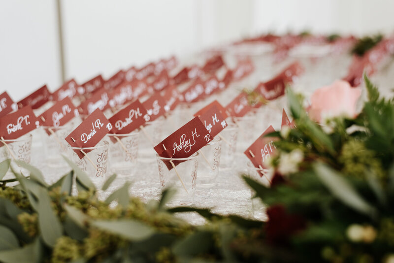 "alt=""burgundy escort cards wedding"""