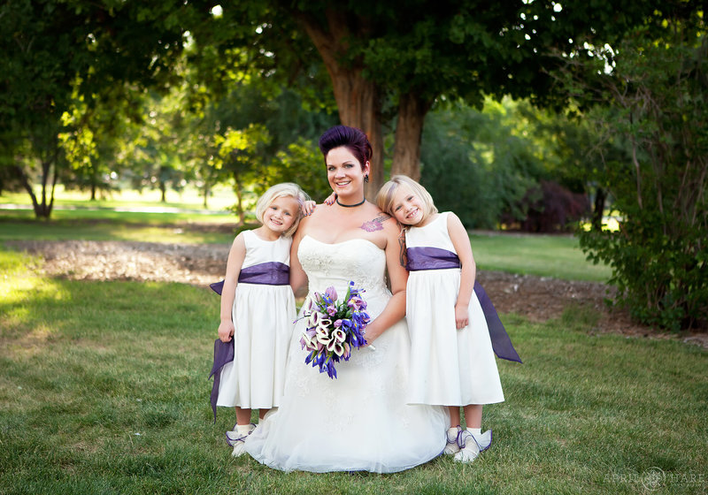 Punk rock bride with her flower girls on her City Park Wedding Day in Denver